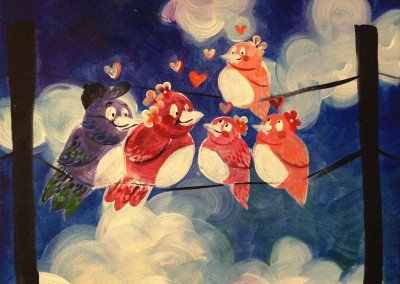 painting of a family of birds with hearts around them
