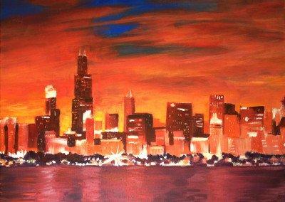 Chicago skyline painting