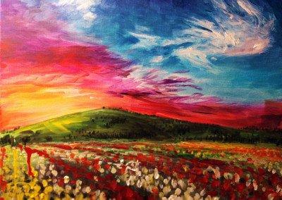 colorful tulip landscape painting