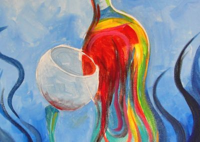 easy colorful wine paining