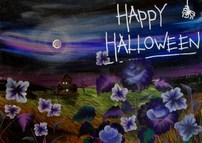 easy halloween night painting
