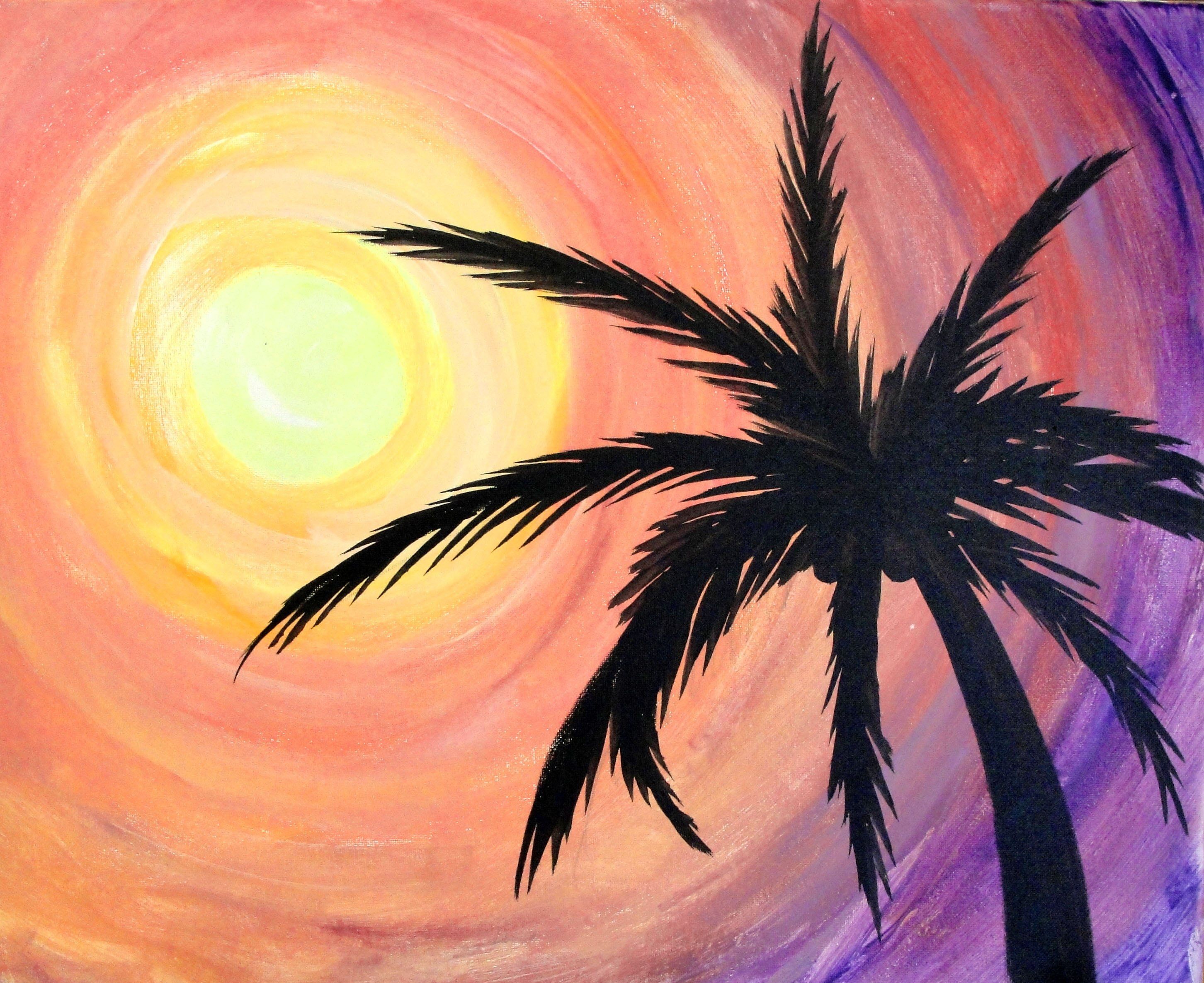 Easy Beach Sunset Painting