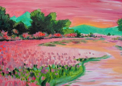 easy pink flower painting