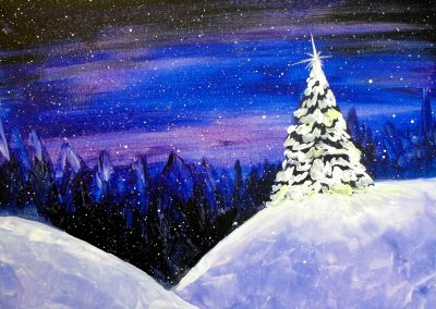 easy snow blue night sky painting