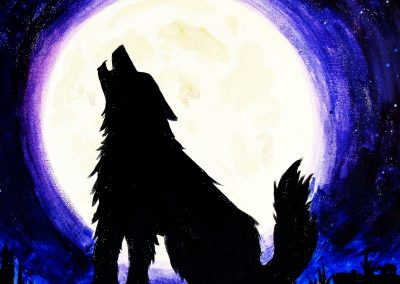 wolf howling in the moonlight painting