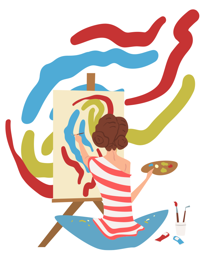 woman sitting on the floor painting wavy lines