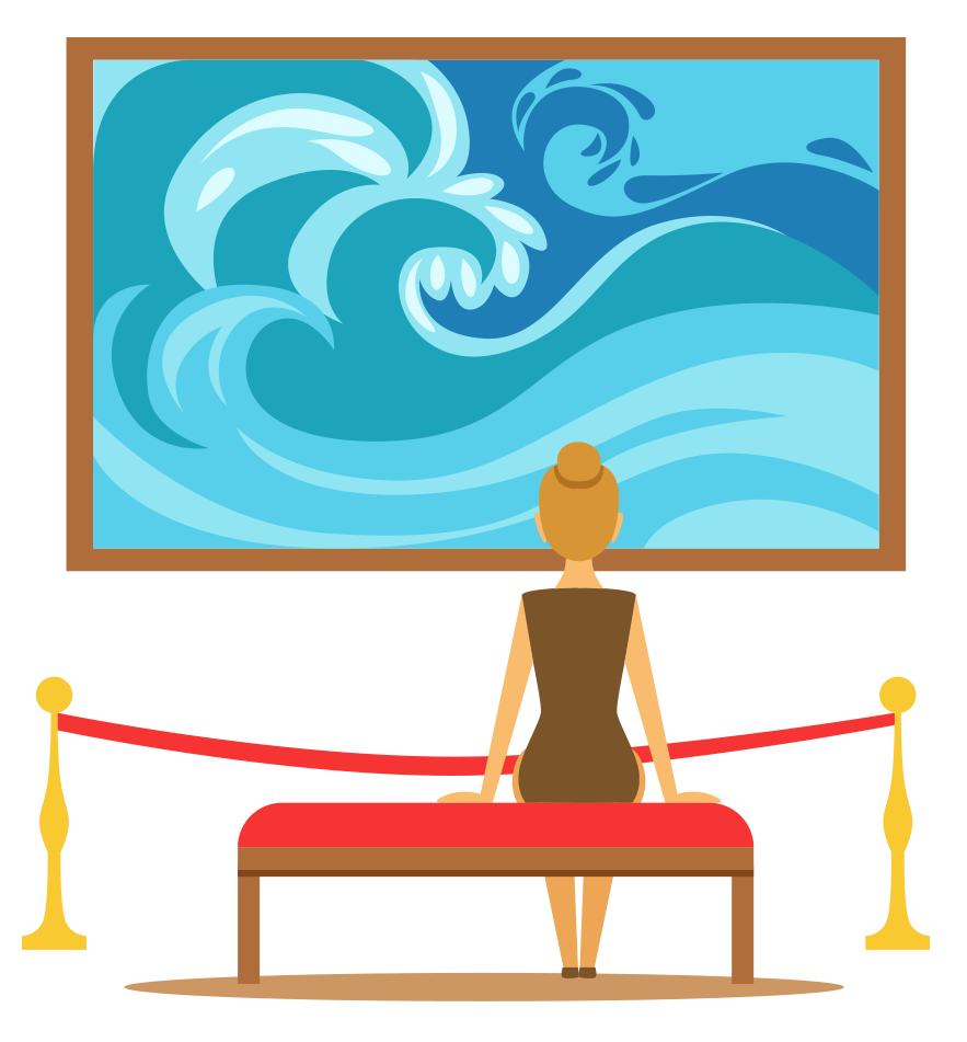 sitting woman looking at a painting of a wave
