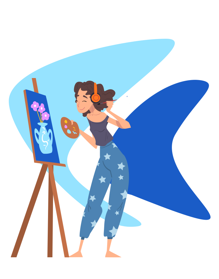 woman listening to music while painting a flower