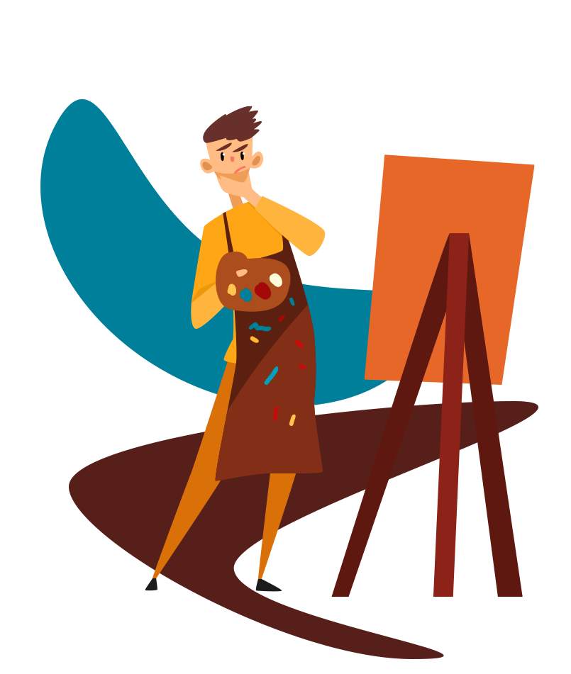 a man needing help with a painting