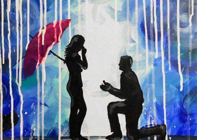 Couple Umbrella Engagement Painting