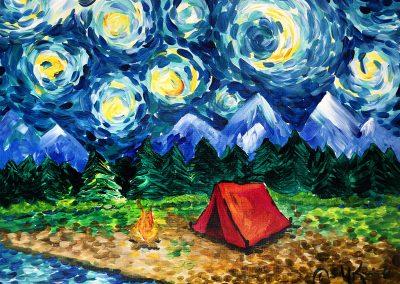 easy campfire vangogh painting