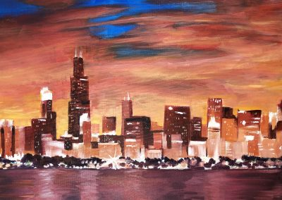 easy chicago skyline painting