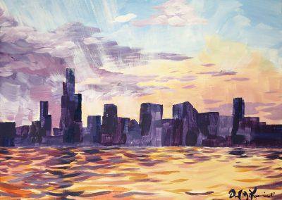 easy chicago skyline sunrise painting