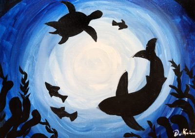 Easy Underwater Silhouette Painting for kids